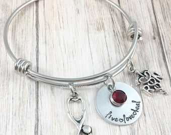 RN Bracelet, Nurse Gift, RN Jewelry, Nurse Graduation Gift, Live Love Heal, Hand Stamped Bangle, New Nurse Gift,Nurse Jewelry,Christmas Gift