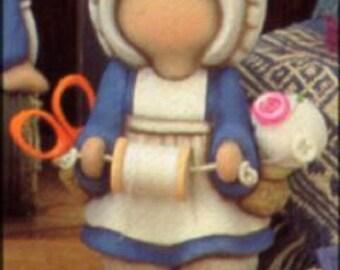 1990 Clay Magic J727 Amish Girl Sewing Kit Ceramic Mold   S25
