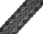 Floral Black Lace Stretch Lace Trim Elastic Lace Black Lingerie Lace Stretch Wide Lace Fabric Sewing Lace per meter # 4165