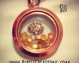 FLASH SALE! CLEARANCE! Family Tree Copper Brass Floating Charm Memory Locket