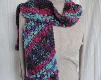 pink aqua purple scarf, funky pompom knit, diagonal knit scarf, fun neckwarmer, one-of-a-kind scarf, wool mix neckwarmer, pompom trim scarf