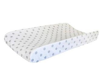 Changing Pad Cover | Aqua & Gray Wink