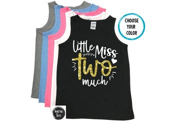 Little Miss Two Much - Kids' Tank Tops - 2nd Birthday Shirt - Two year old - Two cute - Toddler Girl - Birthday Tank Tops - I'm TWO