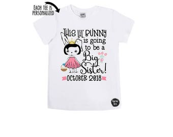 This Little Bunny is going to be a Big Sister - Easter Announcement Shirts - Big Sister Easter - Promoted to Big Sister - Girls' Easter Tees