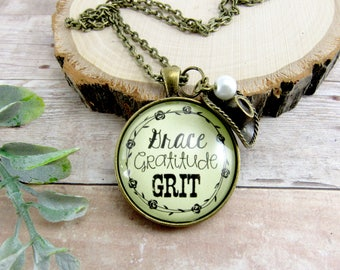 Grace Gratitude Grit Country Girl Jewelry Cowgirl Necklace or Cowgirl Jewelry Keychain Gifts Grace Necklace True Grit Cowboy Hat Charm