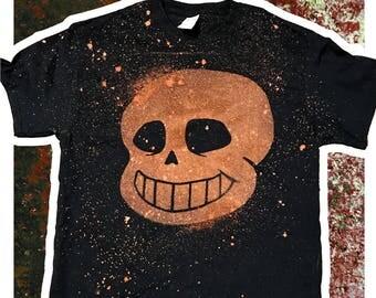 Sans Shirt || Undertale|| Handmade to Order Bleach || Unisex or Fitted/Ladies || OOAK