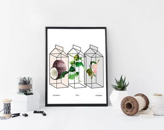 Kitchen wall art, watercolor art print, prints, botanical posters, minimal poster, home wall decor, simple, cute, apartment decor, art