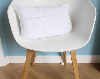 """White pillow cover made out of old fabric 30 x 50 """"white"""" and border - shabby - chic decor - cottage chic"""