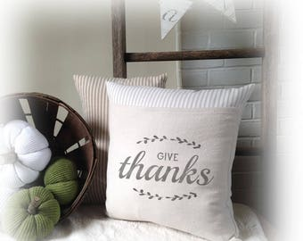 Give Thanks, Give Thanks Pillow, Pillow Cover, Autumn