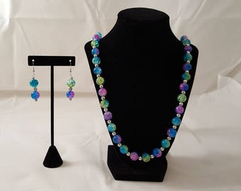 Blue Pink Yellow Crackled Glass Bead Jewelry Set - Blue Necklace - Yellow Necklace - Pink Necklace - Pink Earrings - Blue Earrings - Yellow