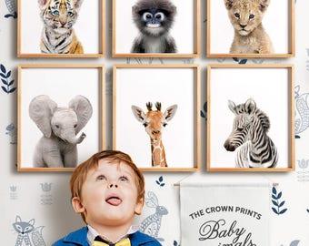 Safari nursery decor, PRINTABLE art, Safari animal prints, Nursery wall art, Nursery safari prints, Giraffe print, Elephant print, Monkey