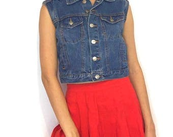 Vintage 90s Blue Denim Button Down Collared Sleeveless Crop Top Tank Top Vest Size Small