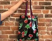 Cherry bag, Cherry Oilcloth tote bag, Shoulder bag, Gifts for her, Shopping Bag, Library bag, Book bag, market bag