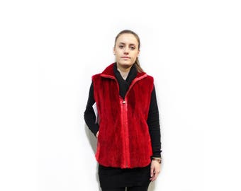 Red Beaver and Leather Vest,Perfect Valentines Gift F323