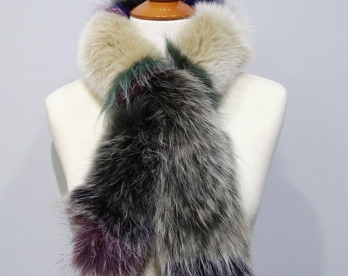 """""""Trendi"""" Fox fur scarf - Colorful Scarf F803"""