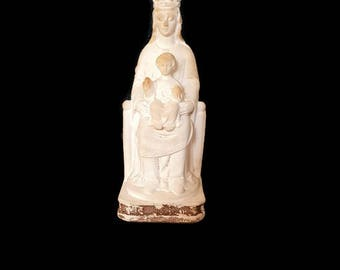 antique french holy virgin with child plaster statue