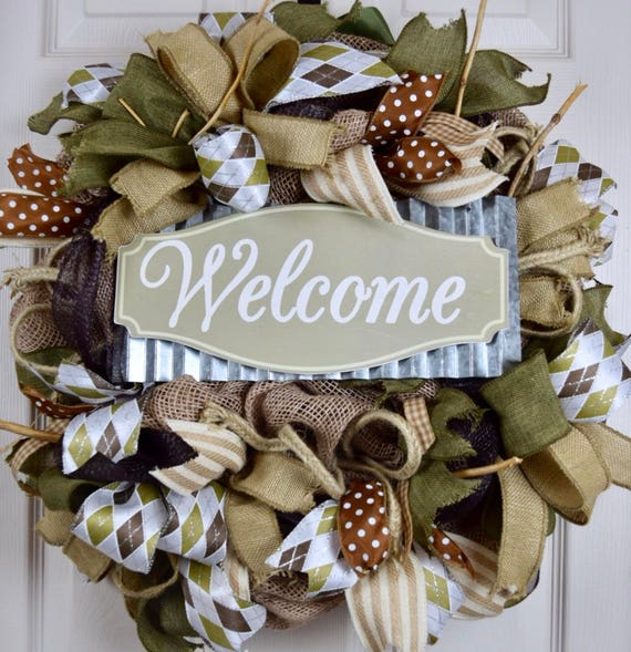 Welcome Green Brown Beige Burlap and Mesh Wreath; Primitive Wreath; Country Wreath; Classic Welcome Rustic Wreath; Wreath with Branches