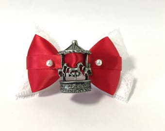 Mary Poppins hair bow, Mary Poppins, carousel, horse, hair clip, red, white, lace, pearl, costume, birthday, gift, women, girls, party