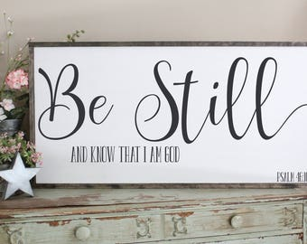 Be Still And Know That I Am God Framed Wood Sign, Psalm 46:10 Wood Sign, Inspirational, Scripture, Living Room Wall Art, Farmhouse Style