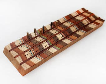 Crib board made from recycled skateboards and mixed hardwoods, unique wooden cribbage, games handmade in Canada, boardgames