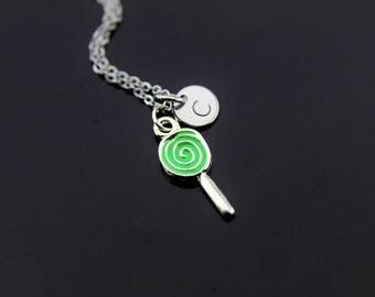 Foodie Gift Green Silver Lollipop Charm Necklace Lollipop Charm Lollipop