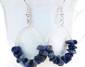 lapis lazuli earrings, blue gemstone earrings, blue and silver earrings, lapis lazuli jewelry, chip earrings, boho hoop earrings, mom gift