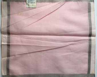 100% Cotton Ladies Handkerchief - Soft Pink and White with Grey Border - New and Unused From Vintage 1970 Stock