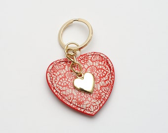 Womens keychain Womens key chain Heart Keyring Heart Leather keychain Womens Gift for her leather key holder womens key organizer bag charm