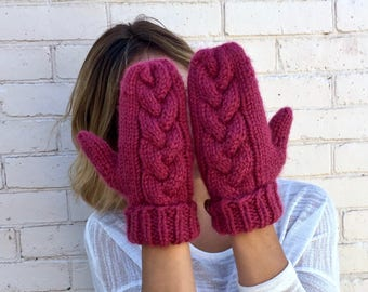 Braided Cable Chunky Knit Mittens | Winter Mittens