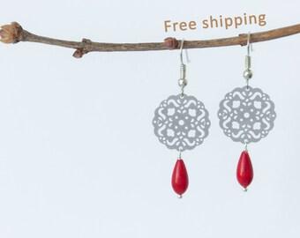 Red coral earrings, Red teardrop earrings, Filigree dangle earrings, Red coral drop earrings, Red coral dangle earrings