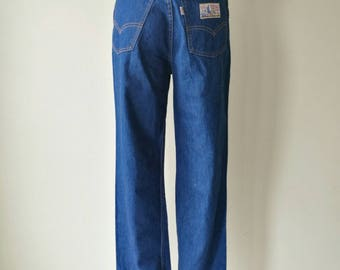 """Vintage 1970s Levi's PLOWBOY Farmers Mechanics and Miners high waisted jeans dark wash good condition W27"""""""