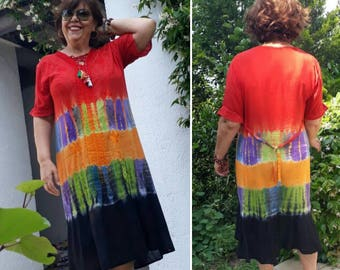 RETRO Indian Dress,  Boho Hippie Tie-Dye Dress,  vintage summer dress,  Oversized Festival midi dress