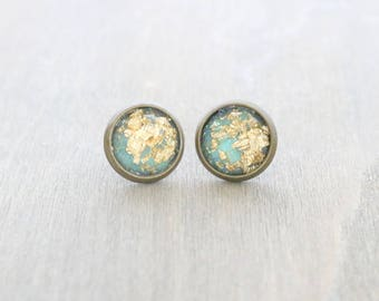Mint and Gold Faceted Resin Bronze Studs, Gold Leaf Studs, Blue and Gold Earrings, Gold Fleck Studs, Earring Studs, Bronze Earring Studs
