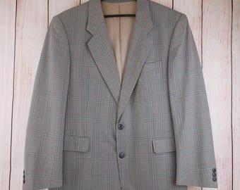 Farah Wool Blend Blazer 40S (M) Check Lightweight Jacket Mens 80s