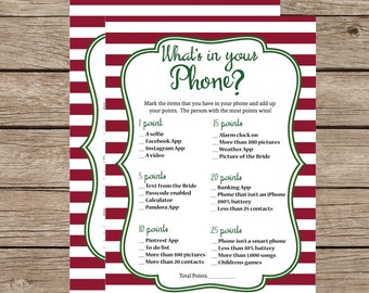 What's in Your Phone Instant Download Christmas Shower Game Red & Green Striped Bridal Shower Shower Games Party Printables Printable Games