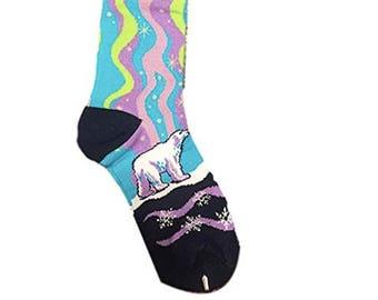 Art Socks,Awesome Northern Lights,Polar Bear-Wolf Socks,Alaska Socks,Artsy Bear Lovers Apparel, Gift for Women, Unisex, Stocking Stuffers