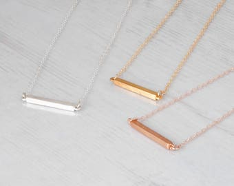 Bar Necklace Sterling Silver, Dainty Necklace, Skinny Bar Necklace, Minimal Bar Necklace, Layering Necklace, Horizontal Bar Necklace Silver