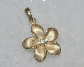 Yellow Gold and Diamond Plumeria Pendant for Lady's 22mm Long