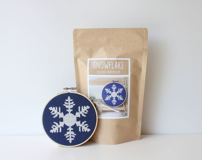 Featured listing image: Snowflake Cross Stitch Kit Christmas DIY Ornament Including Supplies and Instructions Cross Stitch Kit Holiday DIY Christmas Snowflake