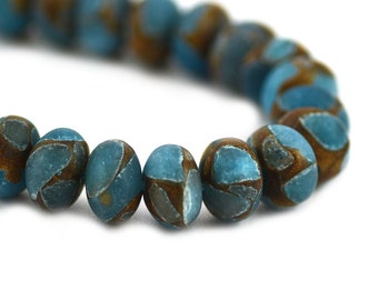 Imperial Impression Jasper Matte Teal Blue Bronze Swirls Inclusions Composite Stone Upcycled Rondelle Bead 10x8mm