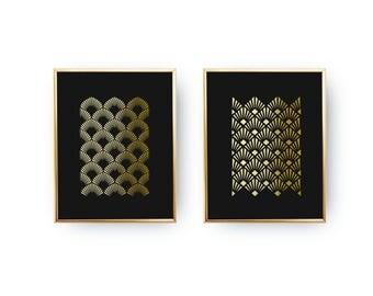Real Gold Foil Print, Art Deco Print, Abstarct Print Poster, Minimalist Decor, Art Deco Fans, Geometric Print Poster, Set Of 2 Prints