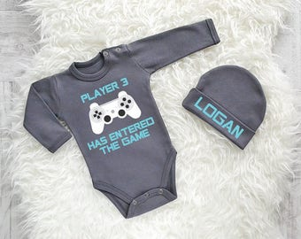 Player 3 Has Entered The Game. Gamer Baby Clothes. Baby Shower Gift. Baby Announcement. Gamer Baby Gift. Add Your Player Number and Name