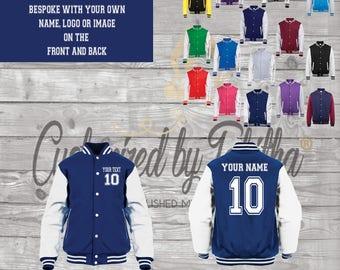 Personalised Custom Varsity Jacket - Name and Number - Unisex - Adults - Teens - customised Gift
