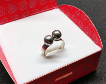 20.8 mm ring silver 835 silver 2 balls SR891