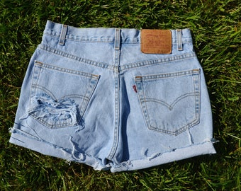 ON SALE Custom Distressed Vintage Levi's High Waisted Shorts SIZE 8