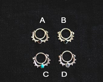 Silver Septums with Stones - Garnett - Turquoise - Onyx - Moonstone - Gems - Tribal - Ethnic - Boho - Gypsy - Queen - Pixies - Fairy -Travel