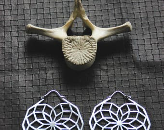 Mandala Earrings - Bronze or Silver Color - XXL - Tribal - Ethnic - Boho - Gypsy - Hippie - Sacred Geometry - Festivals - Fairy - Boom