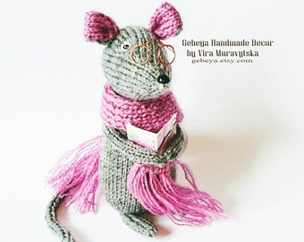 Crochet hand  knit smart MOUSE with glasses - amigurumi eco toy amiguruni rat - 16 cm  tall art toy tied souris plush animal pet