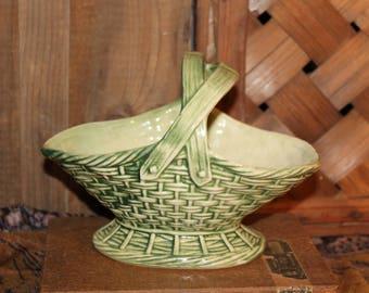 McCoy Basket Planter, 1950s, Vintage McCoy Planter, Woven Basket Planter, Green Vintage Planter, Handled Basket Planter, Country decor