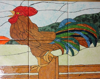 "Country Rooster Good Morning Back Splash Mural Hand Painted Kiln Fired Decorative Ceramic Wall Art Tile 12"" X 18"""